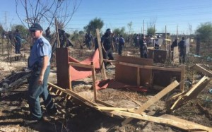 FILE: Law enforcement on Wednesday completely destroyed all the structures built by Khayelitsha residents who illegally invaded a piece of land in the township. Picture: Thomas Holder/EWN.