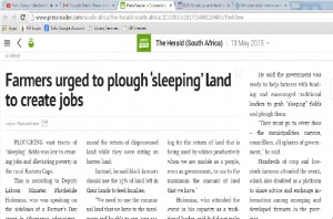 Farmers urged to plough sleeping land to create jobs