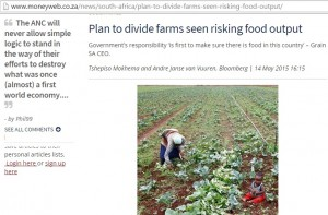 Plan to divide farms seen risking food output